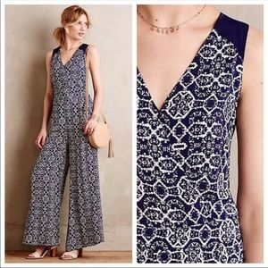 Anthropologie blue and white Wide leg Jumpsuit